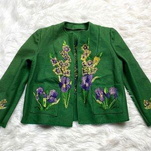 Vintage Handmade Embroidered Jacket Blazer Felt